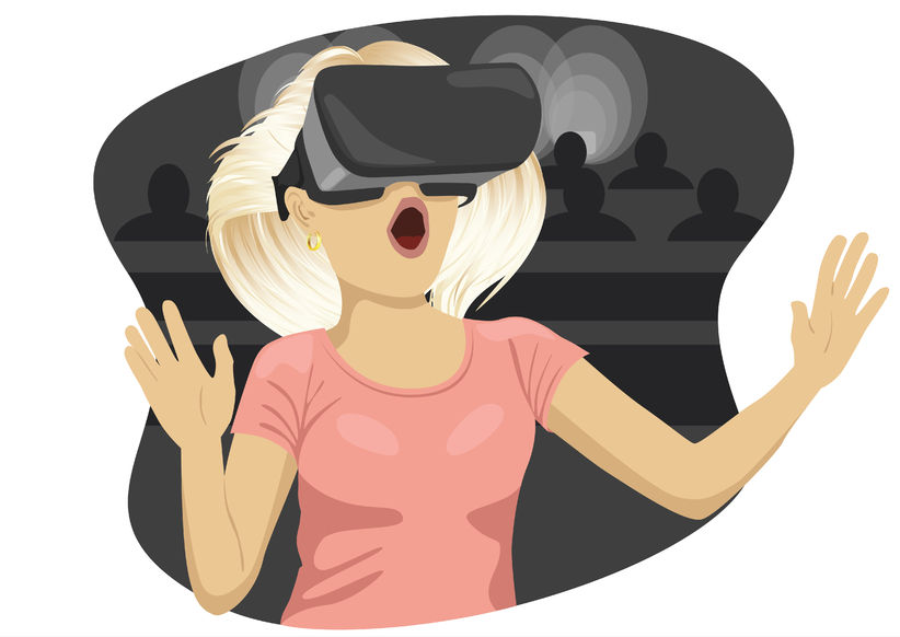 74505768 – young woman with virtual reality goggles in cinema