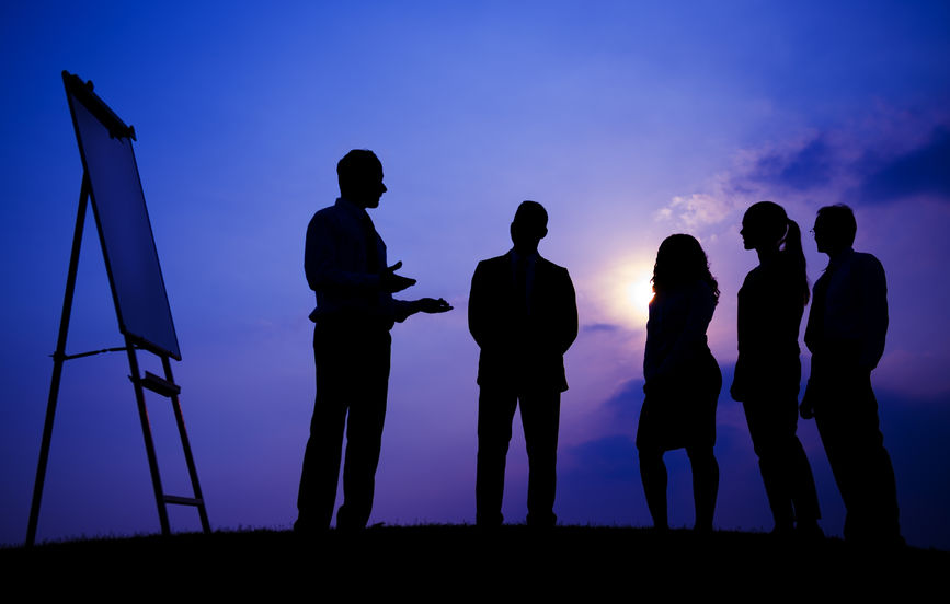 45622055 – business people meeting outdoors silhouette concept