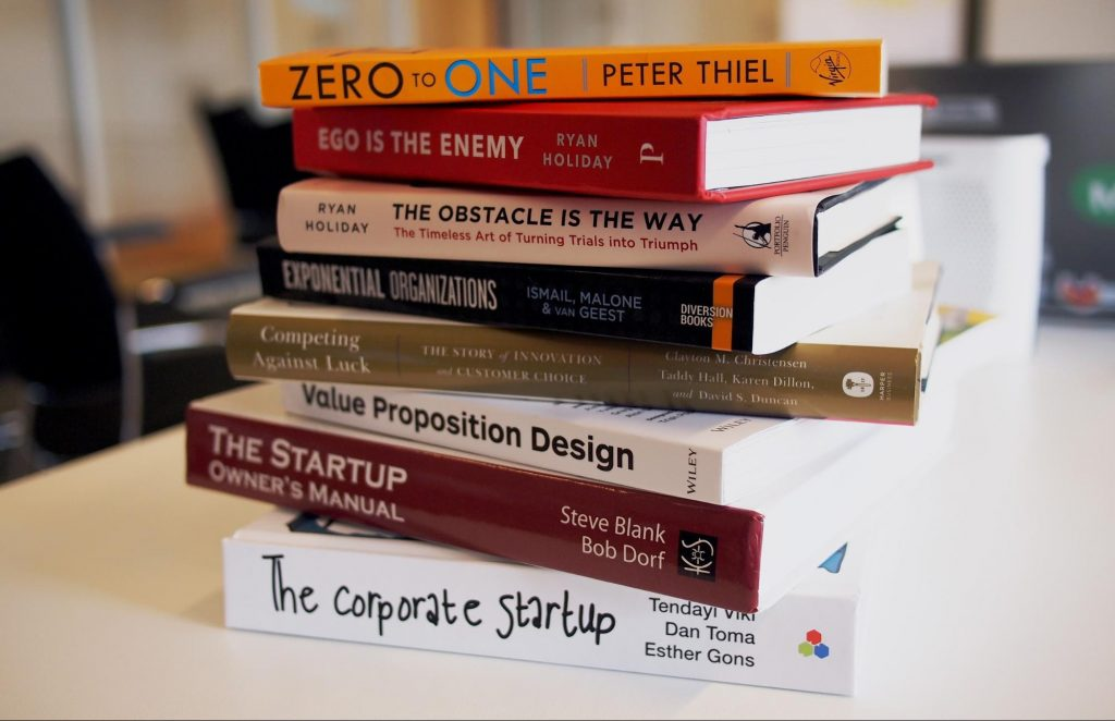Stack of business books