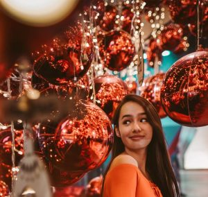Girl with Holiday Decor